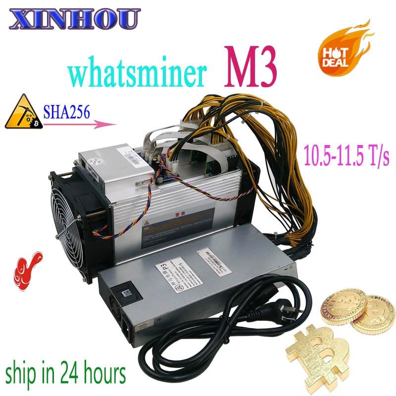 Usado BCH BTC mineiro WhatsMiner M3 10.5 T-11.5 T com PSU Asic Bitcoin Miner Better Than M3x M10 antminer S9 S11 T15 S15 Z11 B7 T3