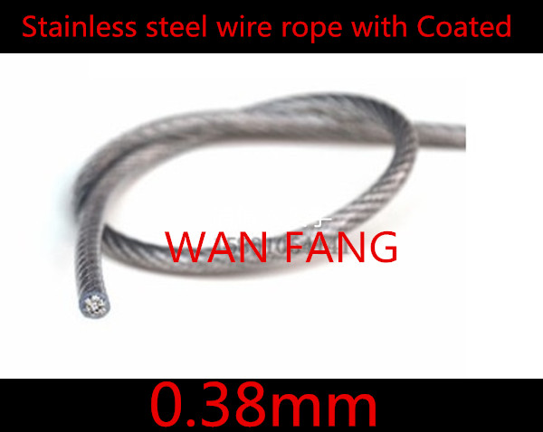 100 Meters Diameter 0.38mm Stainless Steel Wire Rope With PVC Plastic Coated  Transparent (0.27MM Wire Rope With 0.09MM Coating)