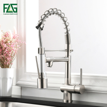 лучшая цена FLG Kitchen Faucet Pull Down Swivel 360 Hot &Cold Brass Water Tap Sink Torneira Cozinha Faucet Brushed Nickel Mixer Tap