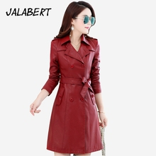 Chaquetas De Cuero Mujer Direct Selling 2017 New Leather Jacket Women Winter Autumn Long Slim Female Double Breasted Tie Coats