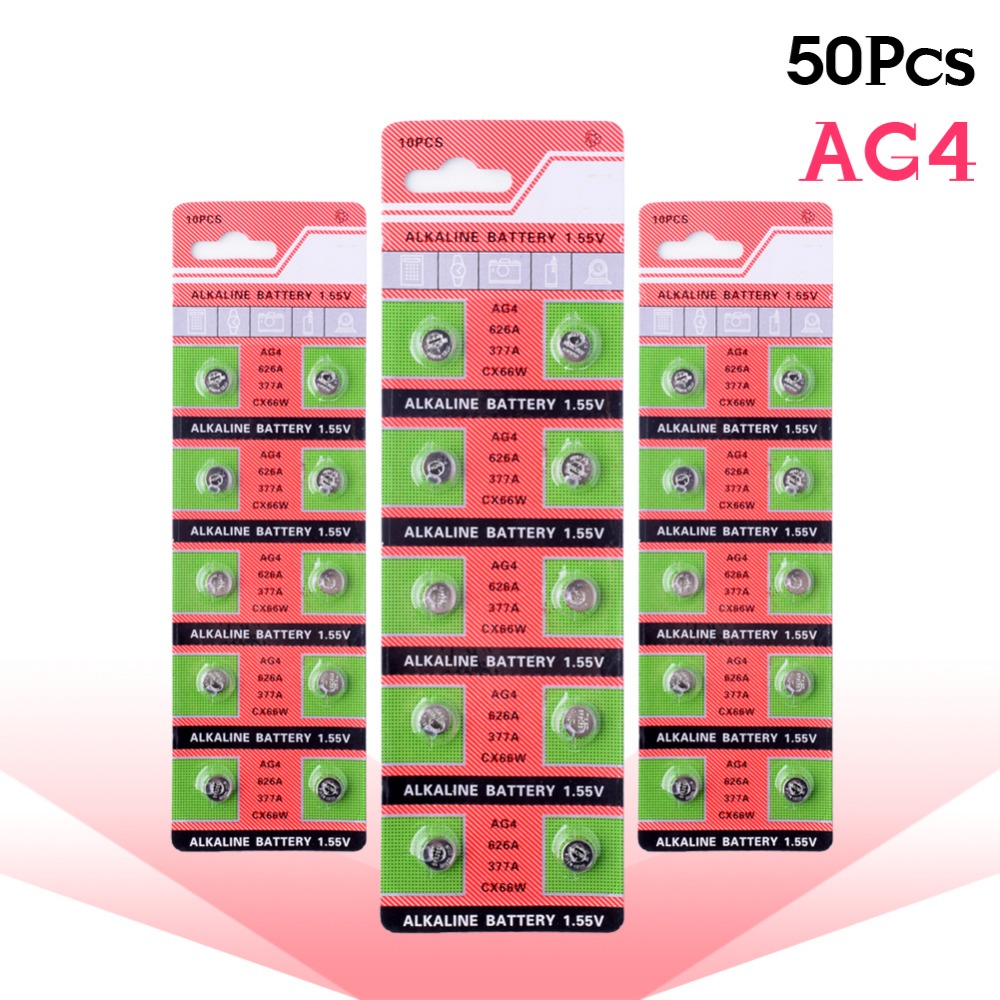 YCDC High Quality Wholesale 50pcs/lot AG4 SR626 LR626 377 177 G4 1.55V Cell Battery Button Coin Gadgets Watches accell replacement 1 5v 26mah ag4 lr626 377 sr626 177 button batteries 10 pcs