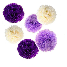 24x NEW mix sizes girl PURPLE LAVENDER BEIGE tissue paper flowers bunting pom poms wedding party wall hanging decorative flower
