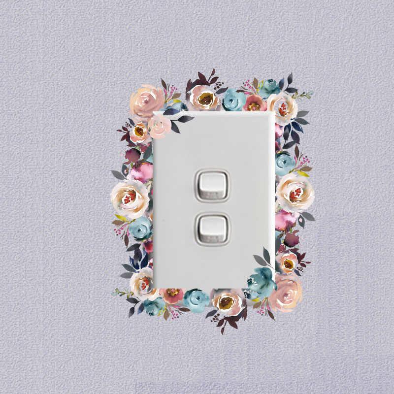 YOJA elektrik düğmesi çıkartması Avrupa Çok Çiçek Yüzük PVC Odası Dekoratif Moda Stil Duvar Çıkartması 15SS0035