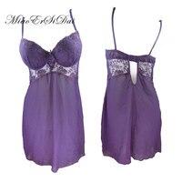 Sexy Lace Chiffon Baby Dolls Exotic Apparel Push Up Bra Stitch Chiffon Hollow Out Dress S