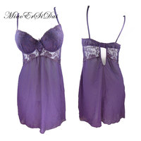 Sexy Lace Chiffon Baby Dolls Exotic Apparel Push Up Bra Stitch Chiffon Hollow Out Dress S