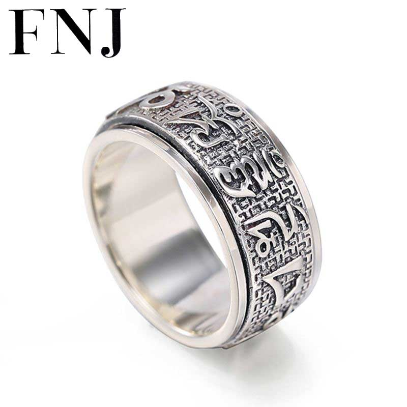 925 Silver Buddha Rings for Men Women Jewelry Six words of mantra 100% Pure S925 Sterling Solid Thai Silver Ring Size 6 12