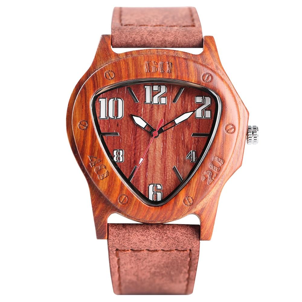 Wooden Watch Quartz Handmade Analog Creative Genuine-Leather Fashion Band Bamboo