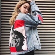 2019 Spring and Autumn New Clown Patch Denim Jacket Women Wash Stitching Portrait Jeans Coats
