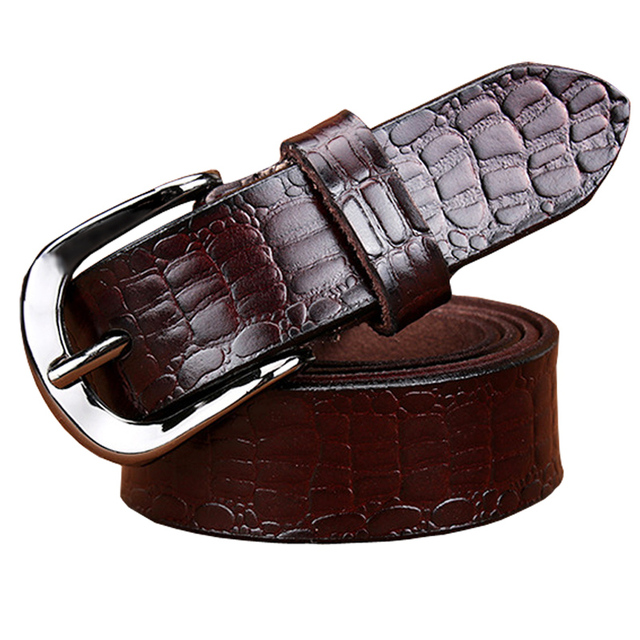 Women's Wide Belt Fashion Genuine Leather Crocodile Design Floral Pin Buckle