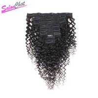Afro Kinky Curly Clip in Human Hair Extensions 8Pcs/Set 120G Full Head 100% Brazilian Real Human Remy Hair Lace Clip SalonChat