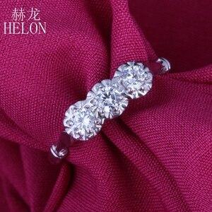 Image 5 - هيلون الصلبة 10k مجوهرات من الذهب الأبيض 0.3ct حقيقية Moissanites الماس خاتم الخطوبة الزفاف رائعة النساء خاتم بثلاثة أحجار