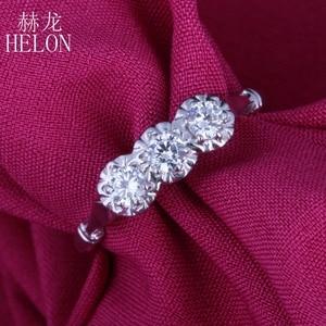 Image 5 - HELON Solid 10k White Gold Jewelry 0.3ct Genuine Moissanites Diamond Ring Engagement Wedding Exquisite Women Three Stone Ring