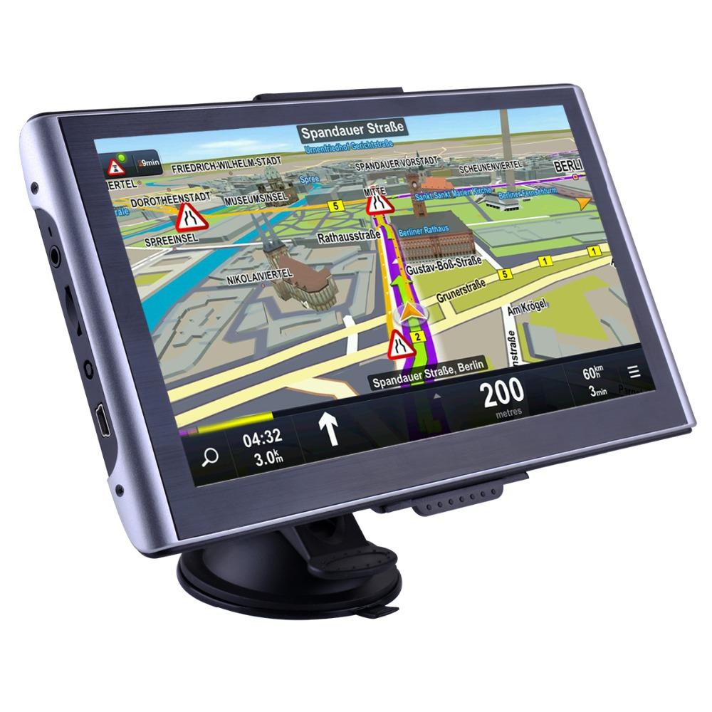 7 inch HD Car GPS Navigation Bluetooth Capacitive Touch Screen vehicle Truck Vans GPS navigator FM UK Europe Map free update aw715 7 0 inch resistive screen mt3351 128mb 4gb car gps navigation fm ebook multimedia bluetooth av europe map