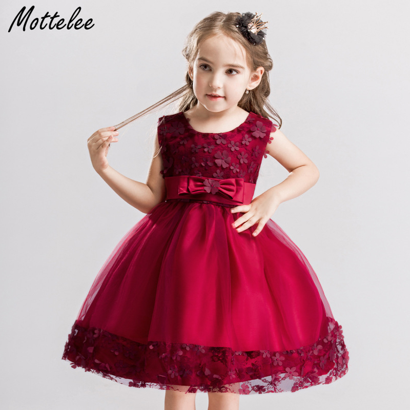 Mottelee Girls Dress Mesh Lace Baby Wedding Party Dresses Flower ...