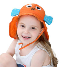 Summer Baby Sun Hat Children Outdoor Neck Ear Cover Anti UV Protection Beach Caps Kids Boy Girl Swimming Flap Cap For 1-7 Years