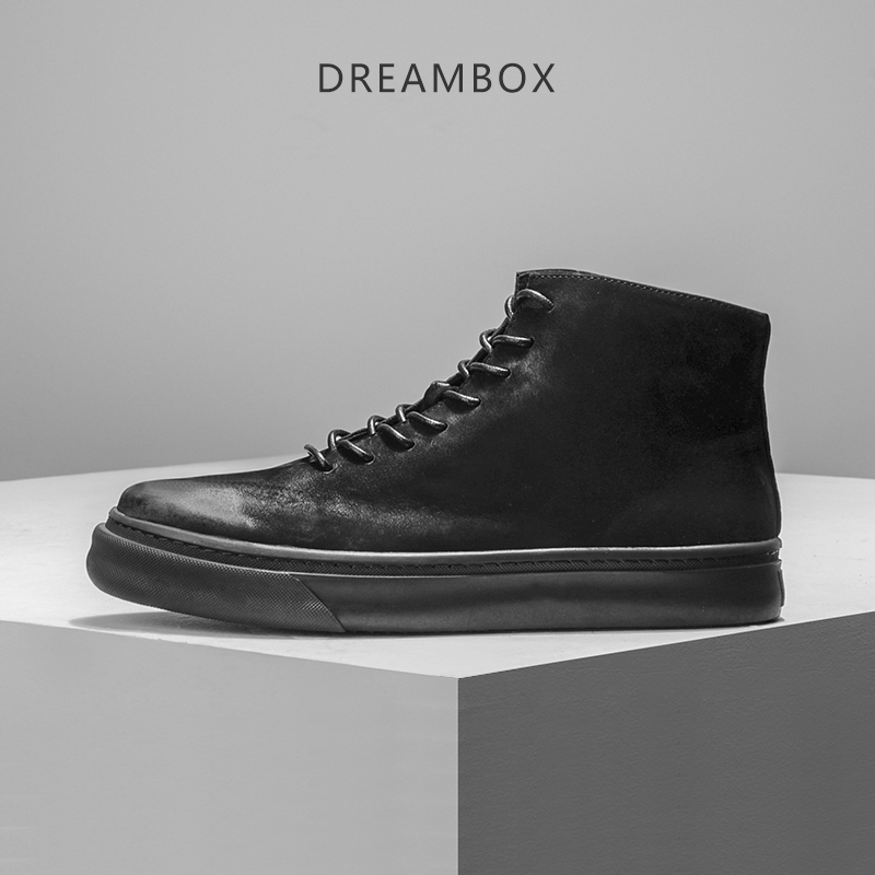 Dreambox 2017 new men's shoes, round head of the leather boots of the fashion trend of the fashionable British vintage roman hollow out the photo shoes fashionable nightclub cos props phantom of the opera queen show low shoes canister boots