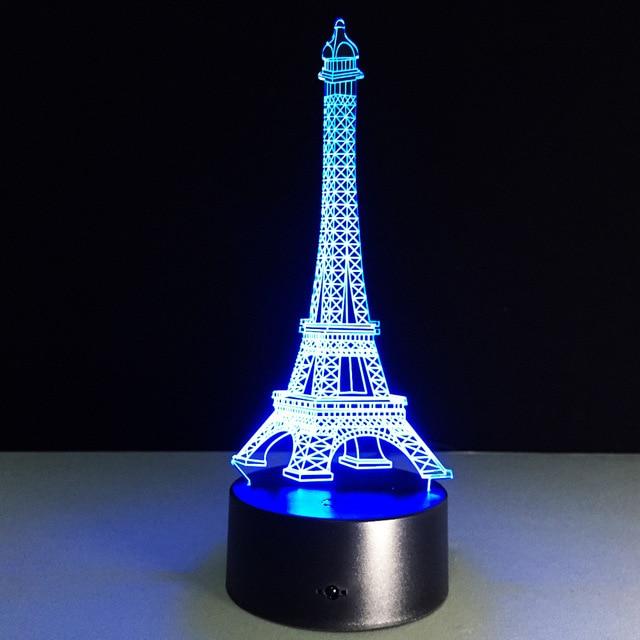 3d led illusion night light led eiffel tower 3d table lamp colorful