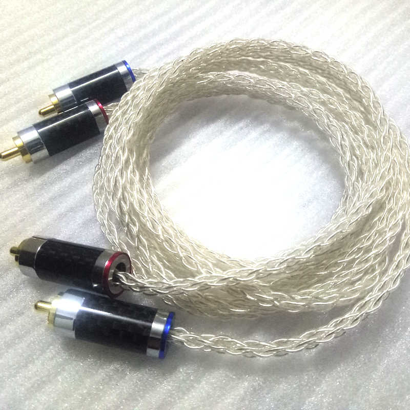 Hifi 8 stands 0.8mm  7N  OCC Silver/Gold plated earphone  Amplifier CD DVD player audio interconnector RCA line cables