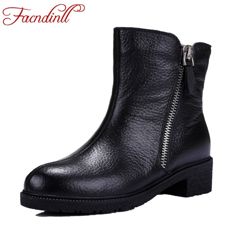 ФОТО comfortable winter warm fur snow boots soft leather shoes woman ankle boots mid thick heel winter shoes platform riding boots