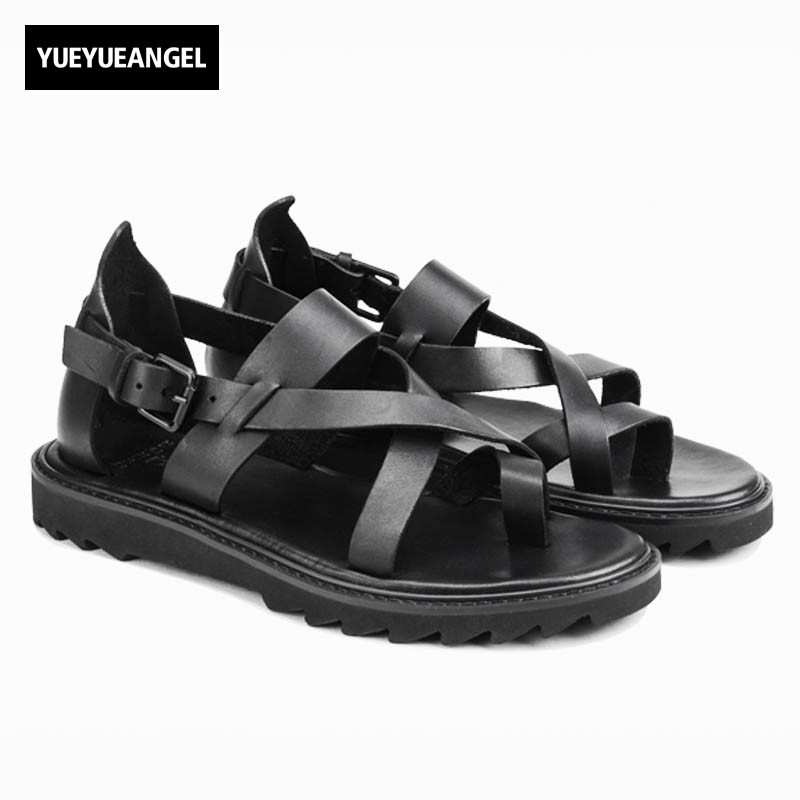 Mens Summer 2018 Outside Rome Gladiator Fashion Straps Cross Beach Sandals Buckle Designer Genuine Leather Male Shoes Open Toes genuine leather mens casual sapatos shoes cross straps male runway sandals roman summer shoes flats 2018 man fashion leather