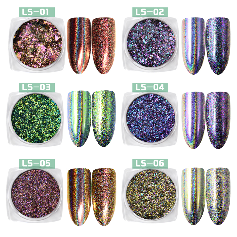 0 2g box Laser Chameleonpigment Holo Nail Flakes Magic Mirror 2 Effects Holographic Powder Nail Glitters Pigment Powder in Nail Glitter from Beauty Health