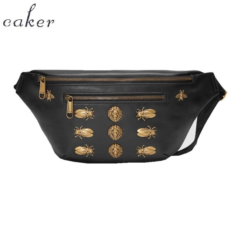 Caker Brand 2018 Women PU Leather Waist Bags Beading Sequins Bee Lion Fanny Waist Pack Black Red Yellow Zipper Belt Chest Bags