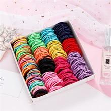 על 100 יח\חבילה סוכריות צבעים ניילון 3CM בנות שיער להקת ילדי שיער אלסטי קליפים קוקו מחזיק ילדים אבזרים לשיער