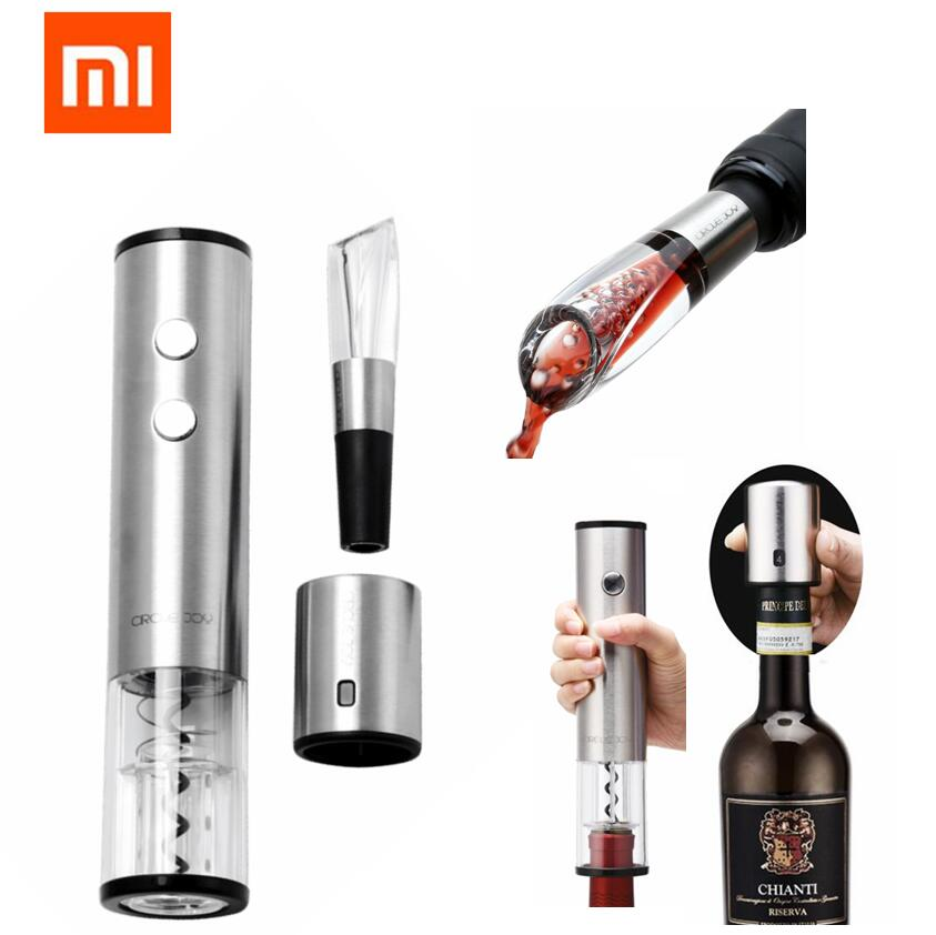Xiaomi Automatic Wine Bottle Opener Electric Corkscrew Fast Decanter Round Stainless Steel Mini Plug Red Wine Stopper Optional