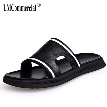 Men's Genuine Leather slippers summer all-match cowhide Rome sandals Sneakers Men Flip Flops casual Shoes beach outdoor male