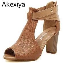 Akexiya rom stil gladiator frauen sandalen sexy peep toe ankle-wrap leder sandalen frauen sommer schuhe frau weiß sandalen