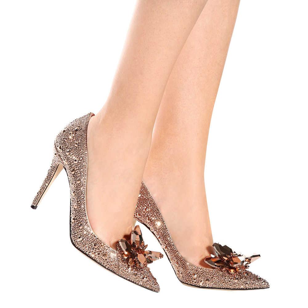 e89c9d93d85eab ... Rose Gold Crystal Covered Pointy Toe Women Pumps Luxury Designer  Rhinestone High Heels Wedding Shoes Cinderella ...