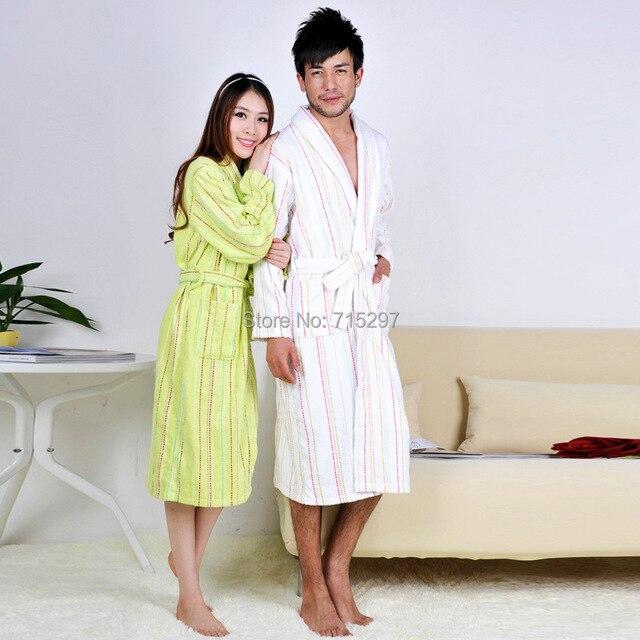 2015 Зимние горячие чистого хлопка полотенце материал жаккардовые полосы халаты халат Унисекс с длинным рукавом халат утолщаются плюс размер pijamas