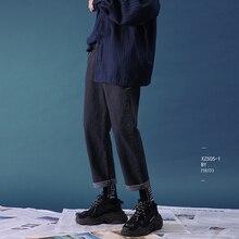 2020 Mannen Mode Klassieke Stijl Denim Casual Rechte Broek Stretch Losse Blauw/Zwarte Jeans Merk Hoge Kwaliteit broek M 2XL
