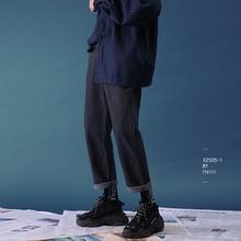 2020 erkek moda klasik tarzı Denim rahat düz pantolon streç gevşek mavi/siyah kot marka yüksek kaliteli pantolon M 2XL