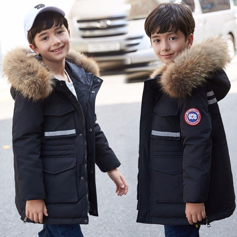 Boy's down jacket long section 2018 new Korean version of the big boy thickening large fur collar children's clothing jacke 2017 winter in the long section of the cotton men korean version of the loose hong wind thickening of large yards of clothing