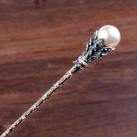 Винтаж имитация жемчуга волос палочки для невесты со стразами шпилька для волос ювелирные изделия