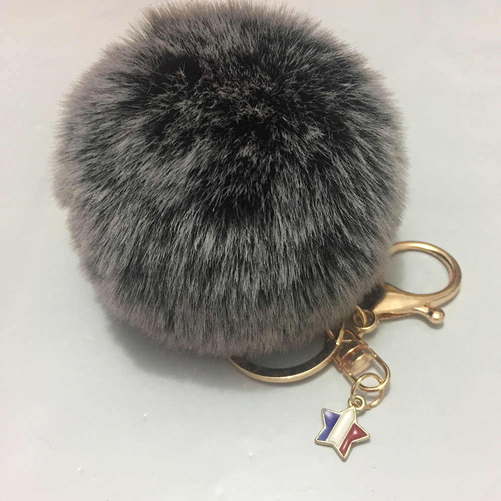 8 cm Ballskin Pompom Fofo Coelho Cabelo Artificial Keychain Chaveiro Pingente de Ouro das Mulheres Fivela Estrela Pingente Chaveiro Llaveros