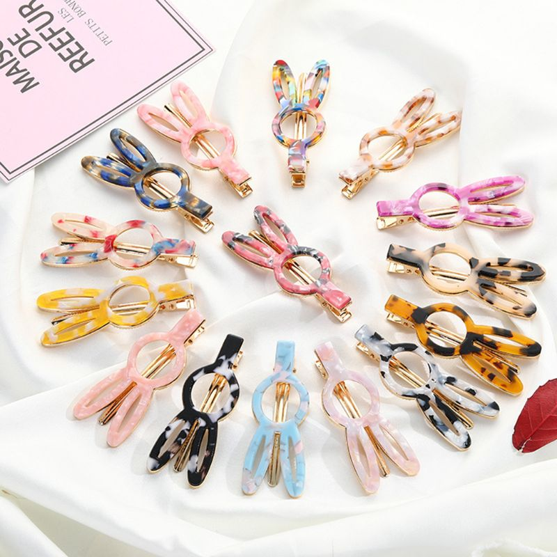 Creative Sweet Rabbit Bunny Acetate Hair Clip Women Girls Colored Marble Texture Alligator Hairpins Side Bangs Styling Barrettes in Hair Jewelry from Jewelry Accessories