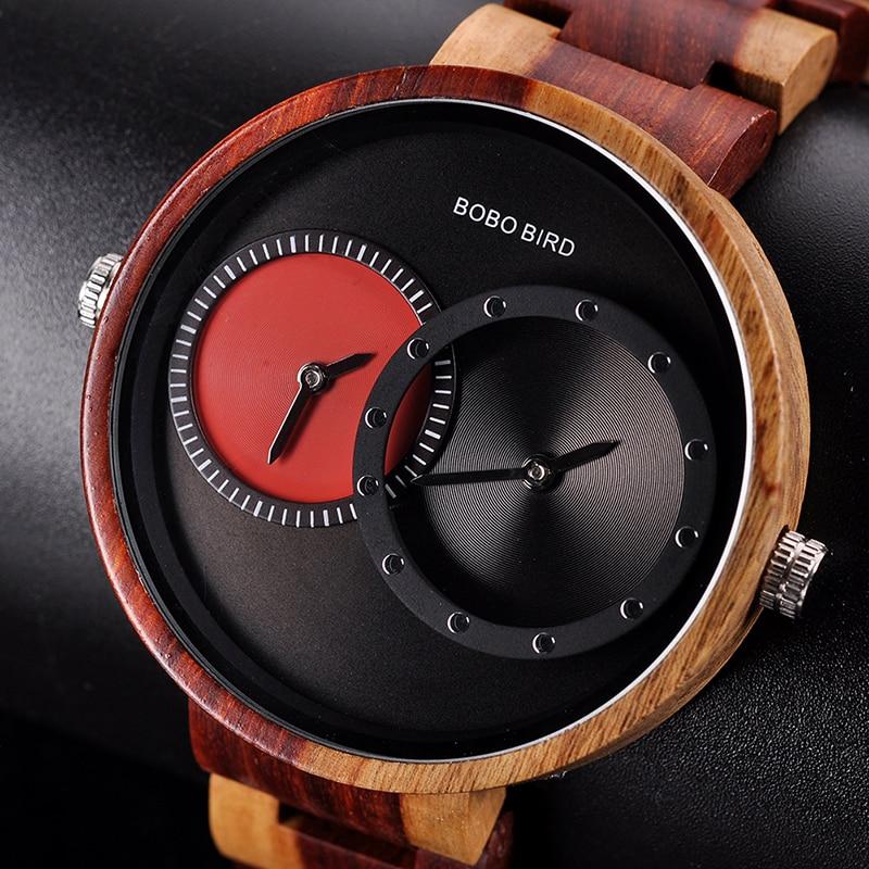 relogio masculino BOBO BIRD Watch Men 2 Time Zone Wooden Quartz Watches Women Design Men's Gift Wristwatches In Wooden Box W-R10 8