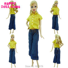 Fashion Short Sleeve Outfit Yellow Tartan Pattern Shirt Jeans Pants Denim Trousers Casual Clothes For Barbie Doll Kurhn FR Toys