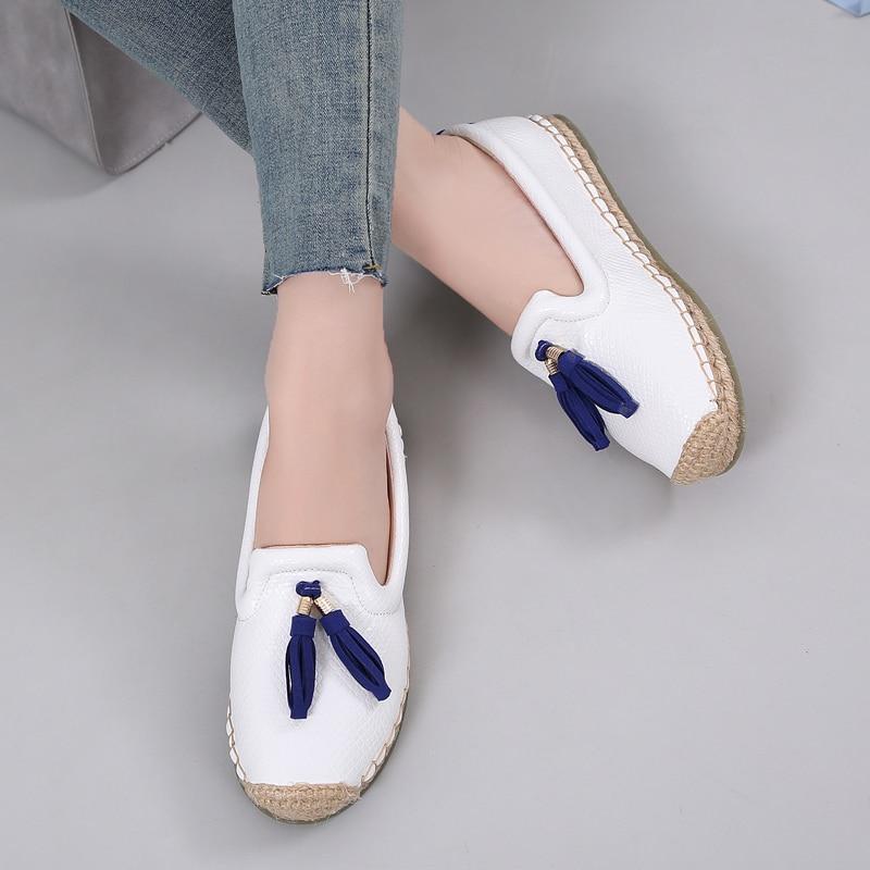 Merek Wanita Loafers Slip Pada Rumbai Sepatu Wanita Kasual Datar - Sepatu Wanita - Foto 4