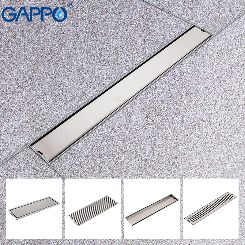 GAPPO Drains stainless steel recgangle anti-odor waste drain bathroom floor cover bathroom water drain shower drain strainer modern stainless steel bathroom linear shower drain floor drain wire strainer 70cm chrome cover waste drainer