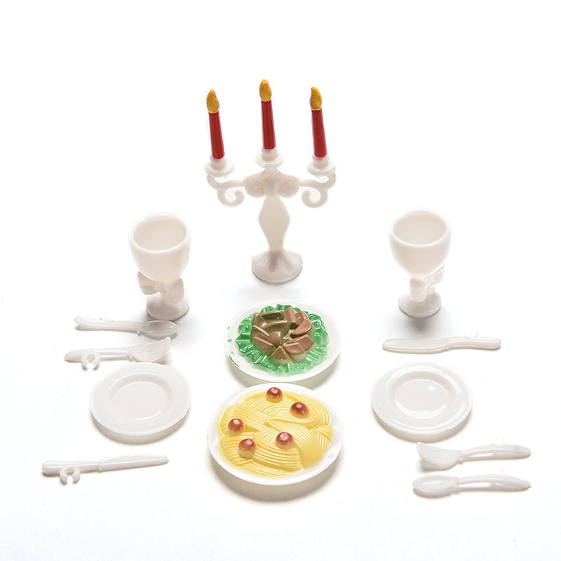 Mini Romantic Candlelight Dinner For Barbies Tableware Candle Wineglass Simulation Tableware Doll Kitchen Accessories 1 Set