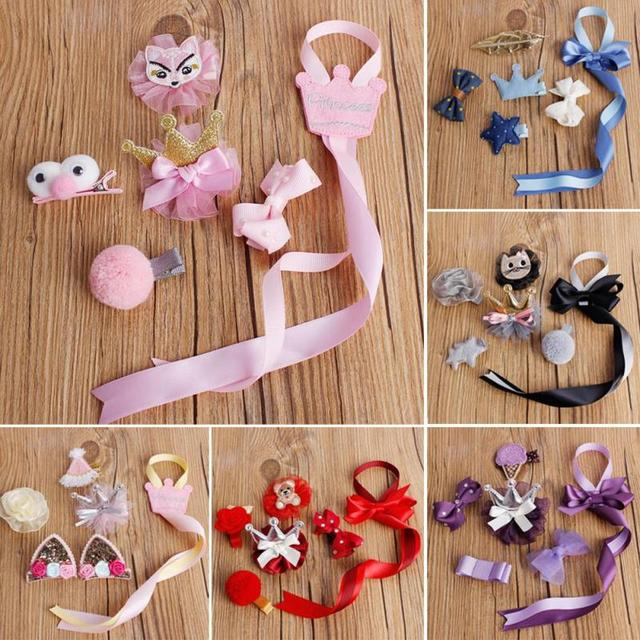 Cute Girls Hairpins Set New Fashion Cartoon Crown Flower Bowknot Cloth Bowknot Hair Clips With Holding Ribbon Kids Hairpin D1