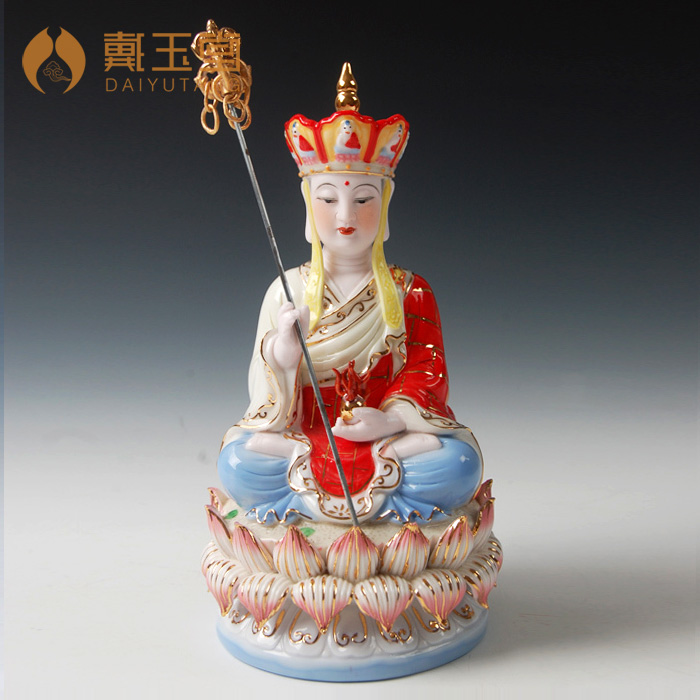 Dai Yutang ornaments upscale new home temple dedicated to decoration 8 inch under glazed color bodhisattva D03 011D in Figurines Miniatures from Home Garden