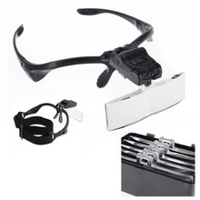 Headband Magnifying Glass Eye Repair Magnifier  LED 1.0/1.5/2.0/2.5/3.5X 5PC Glasses Loupe Optical Lens  jeweler 2 lights headband magnifying glass eye repair magnifier 2 led light 1 0 1 5 2 0 2 5 3 5x 5pc glasses loupe optical lens jeweler watchmak