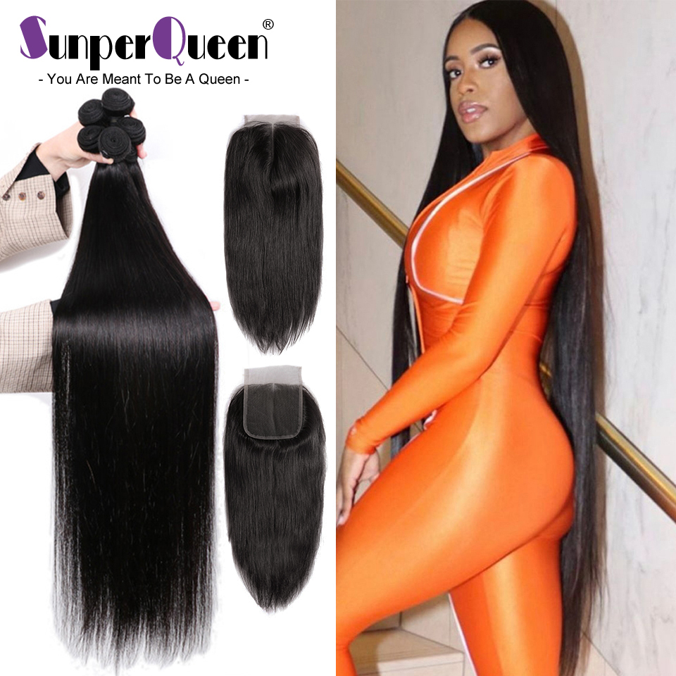 Bundles Hair-Weave Closure Virgin-Hair-Extension Human-Hair 40inch Straight Brazilian
