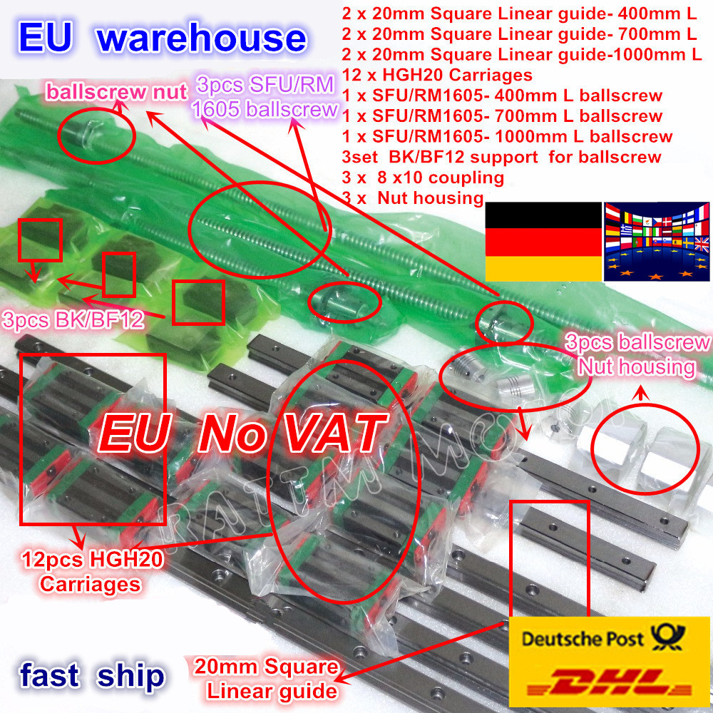 3 sets Square Linear guide sets L 400/700/1000mm & 3pcs Ballscrew 1605 400/700/1000mm with Nut & 3set BK/B12 & Coupling for CNC-in Nut & Bolt Sets from Home Improvement