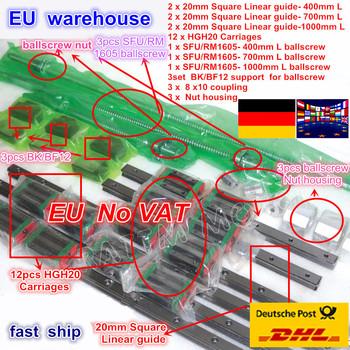 3 zestawy kwadratowych zestawy prowadnic liniowych L-400 700 1000mm i 3 szt Śruba pociągowa 1605 400 700 1000mm z nakrętką i 3 zestaw BK B12 i sprzęgło do CNC tanie i dobre opinie Maszyny do obróbki drewna Zestawy nakrętki i śruby Nut Bolt Sets Cold rolled C7 Bearing steel SFU1605 Ball screw 400mm 700mm 1000mm