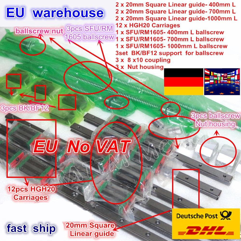 Conjuntos de guia Linear Quadrado define L-400 3/700/1000mm & 3 pcs Ballscrew 1605 400/700 /1000 milímetros com Porca & 3 set BK/B12 & Acoplamento para CNC